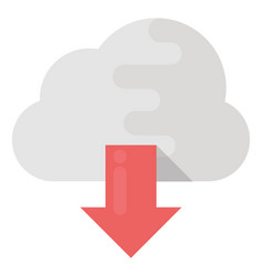 Cloud download flat icon vector