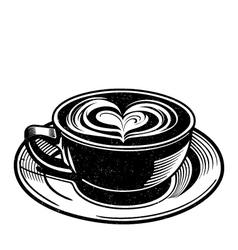 Coffee latte or tea with heart swirl vector