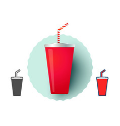 Cold drink from fast food vector