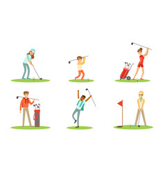 collection golf players characters in different vector image