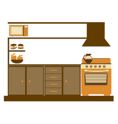 color silhouette of lower kitchen cabinets with vector image