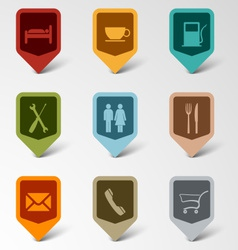Colorful set web retro pointers for service vector