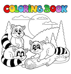 coloring book with happy animals 3 vector image