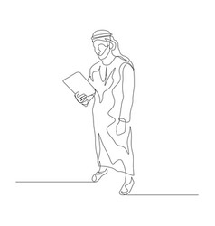 Continuous one line man in arabic clothes use vector