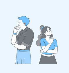 Couple in doubt cartoon outline vector
