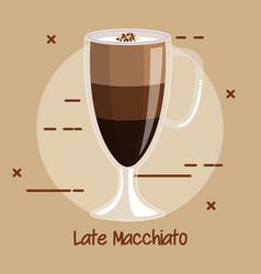 Cup of latte macchiato coffee recipe menu element vector