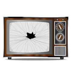 Damaged television set vector