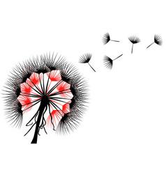 Dandelion flower in black and red vector