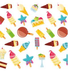 Delicious ice creams pattern background vector