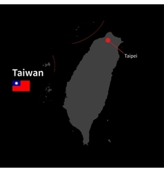 Detailed map of Taiwan and capital city Taipei vector