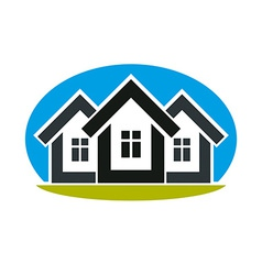 District conceptual - three simple houses Houses vector image