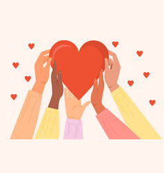 Diverse hands holding heart symbol sharing love vector