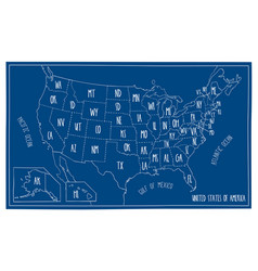 doodle blueprint map of north america vector image