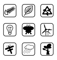 Ecology icons and environment icons with white vector