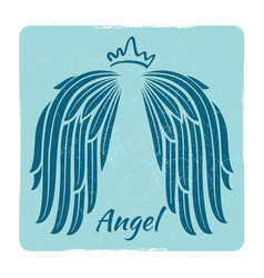 Elegant grunge emblem with angel wings vector