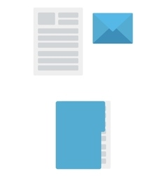Envelope document and folder with file vector image