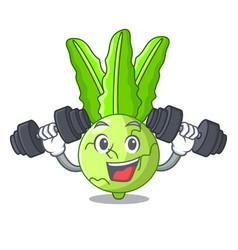 Fitness cartoon green kohlrabi in the market vector