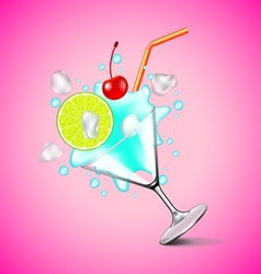 Flying blue lagoon cocktail on pink background vector
