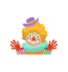 Funny circus clown showing his hands avatar of vector