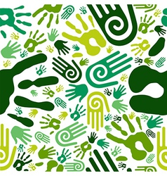 Go green hands seamless pattern vector image