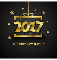 Golden gift box with 2017 Happy New Year greeting vector image