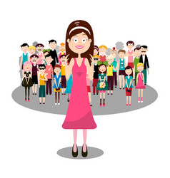 group of people with smiling woman in pink vector image