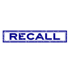 Grunge blue recall word square rubber seal stamp vector