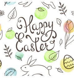 hand drawn doodle easter pattern vector image