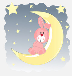 happy hare who sits on the moon vector image