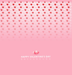 happy valentines day white and red 3d hearts vector image