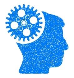 Head Gearwheel Grainy Texture Icon vector