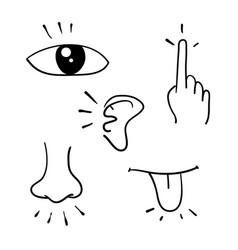 Icon set five human senses doodle handdrawn vector