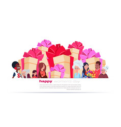International women day banner with different vector
