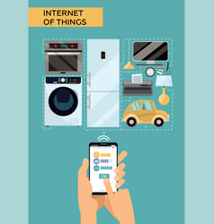 Internet things concept design with male hands vector