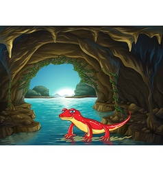 Lizard standing on water in the cave vector image