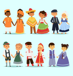 lttle kids children couples character of world vector image