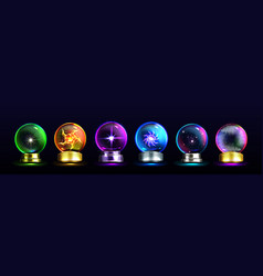Magic crystal balls for fortune telling predict vector