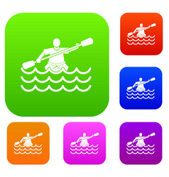 male athlete in a canoe set collection vector image