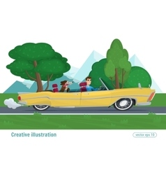 Man rides on a yellow convertible with the dog car vector image