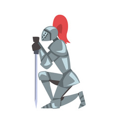 Medieval kneeling knight with sword chivalry vector