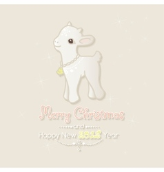 Merry Christmas card with little goat vector image