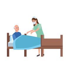 nurse attending old man in bed vector image