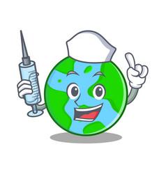 Nurse world globe character cartoon vector