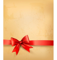 Old background with red bow and ribbon vector image
