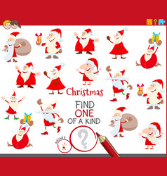 One a kind game with santa claus characters vector