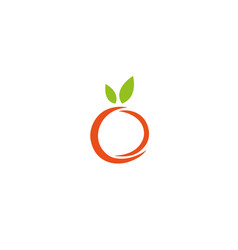 orange and apple fruit with leaves logo vector image