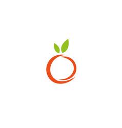 orange apple fruit with leaves logo icon vector image
