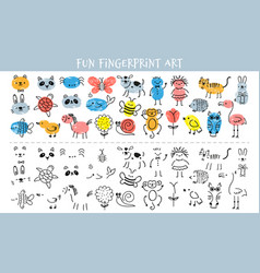 paint with finger prints kids fingerprint vector image
