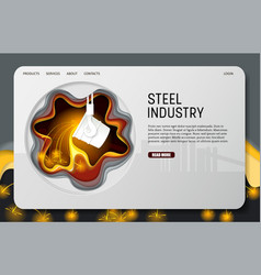 Paper cut steel industry landing page vector