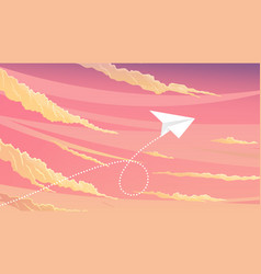 paper plane flying over sunset sky landscape vector image